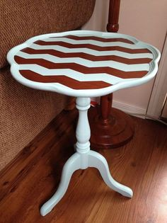 Chalk Painting Chevron To A Wood Table