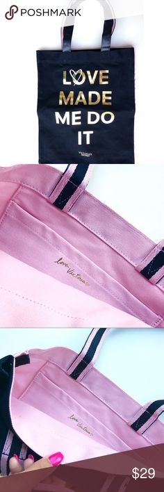 """New Victoria's Secret tote bag 🌸 Brand new in package Victoria's Secret """"Love made me do it"""" tote bag the opposite side is pink with a pocket. Victoria's Secret Bags Totes"""