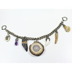 Charivari (a traditional silver chain with coins and hunting trophies hung on the front of Lederhosen or a jacket) with trophies, amethyst and silver coin