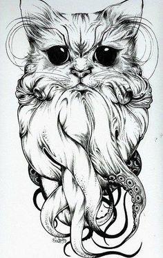 OctoCat tentacles tattoo sketch