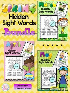Hidden Sight Words~ {Spring Bundle} Your students will be engaged as they use a magnifying glass to recognize, practice reading, and write the hidden sight words