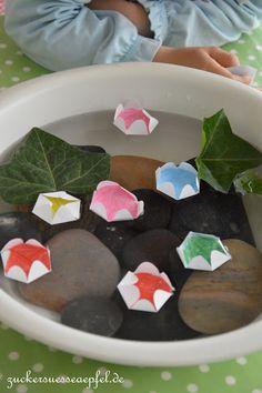 ♥Zuckersüße Äpfel - kreativer Familienblog und Mamablog♥: Eine tolle Bastel- und Spielidee für Kinder, der geheimnisvolle Seerosenteich