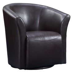 Completing your living room look is effortless when you have this beautiful barrel chair! Just pull it up beside a streamlined sofa for extra seating space at your next upscale cocktail party with frien Swivel Barrel Chair, Swivel Armchair, Living Room Chairs, Dining Room, Kitchen Dining, Black Faux Leather, Real Leather, Tub Chair, Black And Brown