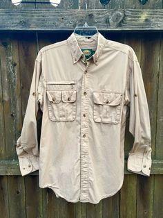 57794145df01 Cabelas Outdoor Vented Button Down Shirt Khaki Tan Long Sleeve - Men s  Small