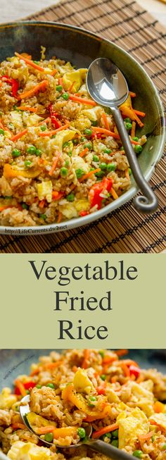 Vegetable Fried Rice ~ Want to get your kids (and maybe your spouse!) to eat more veggies? And, it's really easy to make with leftover rice, frozen veggies, and some other goodies thrown in! Veggie Recipes, Asian Recipes, Vegetarian Recipes, Cooking Recipes, Frozen Vegetable Recipes, Vegetarian Meals For Kids, Vegan Meals, Fried Rice Recipes, Easy Kids Meals