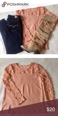 Crocheted Shirt - Fall Must Have | Pinterest Fav This fall must have top paired with Levi Skinny Jeans & Free People Boots (For Sale in Closet) are a perfect combination! The lovely Crochet detail at neck & sleeves is perfectly feminine in every way. Happy Poshing!! ☺️ Tops Blouses
