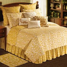 Florence King Quilt 108 x 92 from the Bedding > Allover Pattern > Florence collection by C&F Enterprises. Florence King, Yellow Quilts, Queen Quilt, Back To Nature, Bed Styling, Quilt Sets, Comforter Sets, Damask Bedding, White Bedding