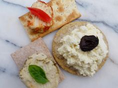 Clockwise from top : cashew cheese with smoked paprika on seed cracker with tomato, tofu cheese on oatcake with black olive, herb and bla. Cashew Cheese, Vegan Cheese, Tofu Ricotta, Smoked Paprika, Camembert Cheese, Health Tips, Vegan Recipes, Vegetarian, Create