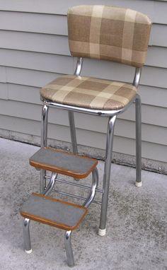 Vintage Folding Step Stool Chrome Legs | eBay & Vintage Shabby Kitchen Step Stool Chair Wood Steps Fold Up-Unusual ... islam-shia.org