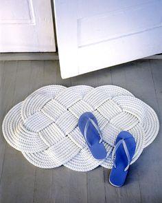 Handmade Braided Doormat.  Maybe not white.
