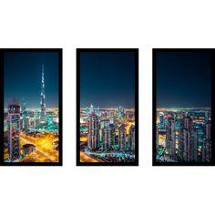 "PicturePerfectInternational 'Downtown Dubai, UAE' 3 Piece Framed Photographic Print Set Size: 25.5"" H x 40.5"" W x 1"" D"