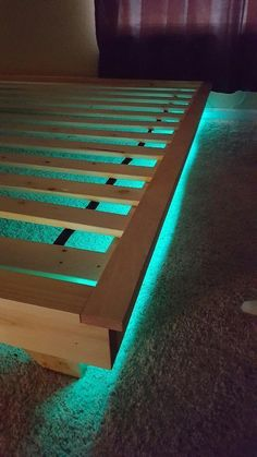 How to build a beautiful DIY bed frame & wood headboard easily. Free DIY bed plan & variations on king, queen & twin size bed, best natural wood finishes, and lots of helpful tips! - A Piece of Rainbow Bed With Led Lights, Bed Lights, Night Lights, Led Bedroom Lights, Cool Lights For Bedroom, Led Light Bed, Murphy Bed Ikea, Murphy Bed Plans, Decoration Bedroom
