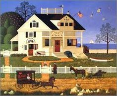 This one has always reminded me of Martha's Vineyard and Nantucket~ Charles Wysocki - Pickwick Cottage