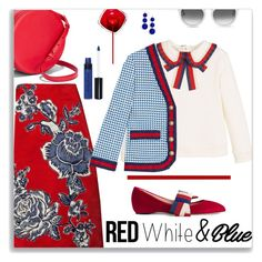 """Preppy 4th"" by nineseventyseven ❤ liked on Polyvore featuring TOMS, Mikimoto, Bill Blass, Gucci, Smashbox, BaubleBar and 4thofjuly"