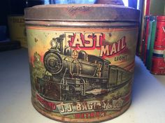 Vintage Fast Mail Tobacco Tin Can J.J. Bagley & Co. Advertising Paper Label RARE