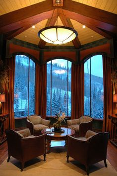 Library with a view - mediterranean - home office - salt lake city - Spencer Interior Design