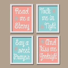 Cute Aqua Coral Kiss Me Goodnight Quote Crib Nursery Song Print Artwork Set of 4 Prints Wall Decor Art Picture