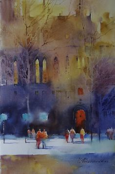 Kai Fine Art is an art website, shows painting and illustration works all over the world. Watercolor Canvas, Watercolor Artists, Watercolor Landscape, Watercolor And Ink, Watercolour Painting, Watercolours, Cityscape Art, Yellow Art, Traditional Paintings