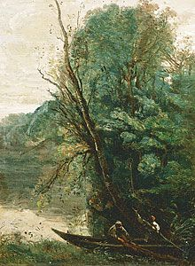 "Jean-Baptiste-Camille COROT: ""Fishing with Nets"", 1847, Oil on canvas, 33.0 (h) x 24.5 (w) cm,  Musée Fabre."