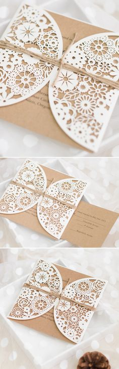 rustic elegance laser cut wedding invitations with burlap for fall