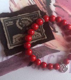 FLeuR De LIs RED Gemstone Bracelet/ Artisan Sterling by Ivanwerks