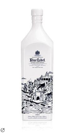 Johnnie Walker Blue Label bottle design by Joe Wilson Booze Drink, Alcoholic Drinks, Tequila, Vodka, Johnny Walker Blue Label, Alcohol Bottles, Scotch Whiskey, Bourbon Whiskey, Ron