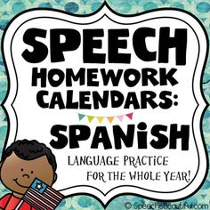 Speech homework in Spanish? S, por favor! I created both month-to-month calendars and weekly homework calendars for this whopper of a 77 page product! IT INCLUDES SUMMER! :)NEED THIS IN ENGLISH? BUY THE ENGLISH VERSIONThis product is designed for both monolingual and bilingual speech pathologists who work with bilingual children.