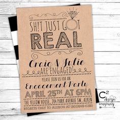 Sht Just Got Real Engagement Party Invite por cSquaredDesignCo