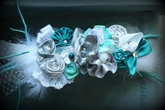 Teal Grey and Cream MATERNITY sash Belly by thelaughingprincess, $40.00