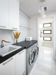 Clean, modern laundry room design.