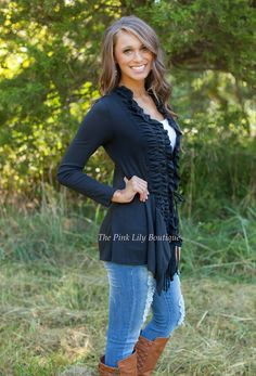 The Pink Lily Boutique - Black Ruffle Cardigan , $39.00 (http://thepinklilyboutique.com/black-ruffle-cardigan/)
