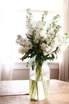 This centerpiece is clean and fresh with gorgeous white stock arranged in a Mason jar. Shop stock and other popular wedding flowers at GrowersBox.com!