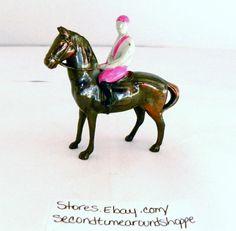 """VINTAGE METAL JOCKEY on HORSE BACK Figurine 3 1/4""""    C4"""