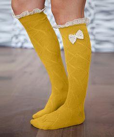 Mustard + Ivory Bow Socks
