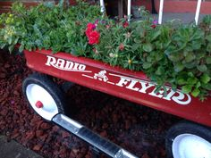 One of the vintage Radio Flyer Wagon planter/container garden creations I've made :)   Make sure to drill holes for drainage & coat the inside of it with polyurethane to keep your plants healthy.