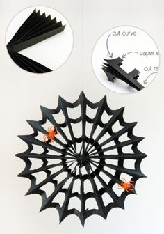 DIY Paper Accordion Fold Spiderweb - crafty halloween decoration