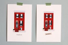 "HOLIDAY PACKAGE / Custom House Illustration 8""x10"" / Holiday Card Design. $85.00, via Etsy."