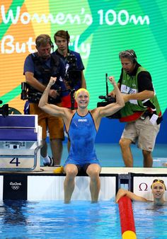 Sarah Sjostrom of Sweden celebrates winning gold and setting a new world record in the Women's 100m Butterfly Final on Day 2 of the Rio 2016 Olympic Games at the Olympic Aquatics Stadium on August 7, 2016 in Rio de Janeiro, Brazil.