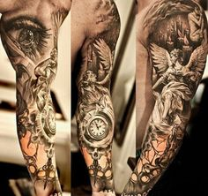 Arm Tattoo Angel Clock Eye Ink