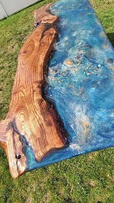 Epoxy Table Top, Epoxy Wood Table, Wood Slab Table, Epoxy Resin Table, Diy Epoxy, Wood Resin, Resin Furniture, Handmade Furniture, Furniture Ideas