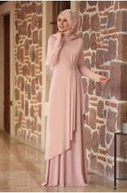 Powder Stone Evening Dress – – Best Of Likes Share Hijab Evening Dress, Hijab Dress Party, Hijab Style Dress, Abaya Style, Evening Dresses, Abaya Fashion, Fashion Dresses, Moslem Fashion, Dress Pesta