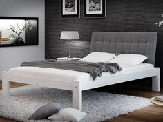Łóżko tapicerowane w stylu glamour w rozmiarze 140x200. Idealnie nadaje się do aranżacji w nowoczesnym pokoju. Wykonane z drewna sosnowego najwyższej jakości. Posiada 13-listewkowy stelaż i tapicerowany zagłówek z guzikami.   #łóżko #białełóżko #sypialnia #tapicerowanełóżko #łóżkozestelażem