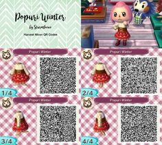 I made a winter version of Harvest moon popuris dress for Animal crossing new leaf popuri qr code red outfit dress design by sturmloewe