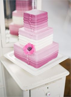 This purple to pink ombre wedding cake would be an elegant additional to a pink or purple wedding! Purple Wedding Cakes, Beautiful Wedding Cakes, Gorgeous Cakes, Pretty Cakes, Amazing Cakes, Cake Wedding, Wedding Bride, Wedding Dresses, Cupcakes