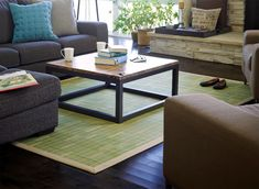 Eco-friendly bamboo rug in a modern bamboo setting. Key West Bamboo Rug from Eco Friendly Digs Bamboo Rug, Moso Bamboo, Bamboo Floor, Bamboo Construction, Brown Rug, Dark Brown, Rectangular Rugs, Furniture Legs, Stone Flooring