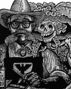 """Koyokuikatl"" #carloscortez #printmaking #10years #koyokuikatl #chicago #carlosbarberena #bp #bandolero #igc #vivalahuelga #printmakers #nicaraguanartist #nicaragua #granada #artivism #posada #chicagoprintmakers #igc #institutograficodechicago #woodcut #grabados #outlawblack #gamblin #ink #gamblincolors #wildturkey #outlawprintmakers (at Granada, Granada, Nicaragua)"