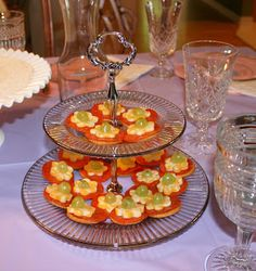 Party Planning Mom: Celebrate Spring Tea Party -Flower shaped cheese on crackers