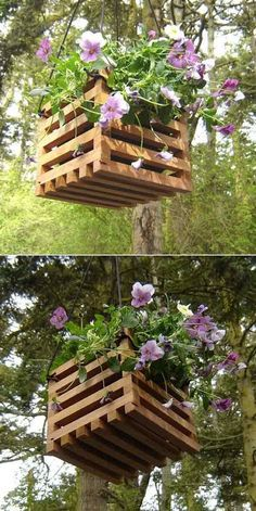 There is a common idea of hanging the plants from the roof. Wooden pallet makes a perfect case to hang your plants. You can put different designs and shapes to make an excellent casing. Tie it up from the corners in triangular position to give a proper support to the frame.