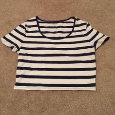 Express Sexy Stretch Crop Navy blue and white crop top.  Never been worn.  Should be NWT but sometimes I get excited buy things and take tags off.  Perfect for Summer season coming up! Express Tops Crop Tops