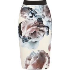 PASTELS ($92) ❤ liked on Polyvore featuring skirts, bottoms, floral skirt, floral print pencil skirt, bandage pencil skirt, knee length pencil skirt and floral printed skirt